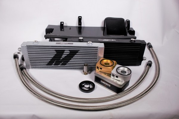 Mishimoto's Focus RS oil cooler kit components