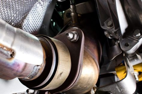 The flange where the downpipe meets the rest of the Camaro exhaust.
