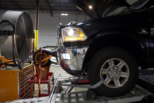 Donor truck on the dyno for Mishimoto Cummins intercooler testing