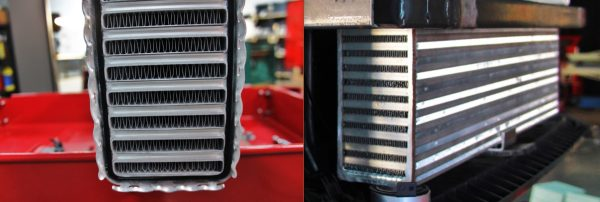 Comparison of what a tube-and-fin (left) core looks like to a bar-and-plate (right) core