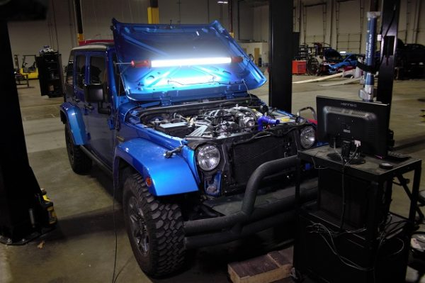 Our loaner JK under the operating knife!