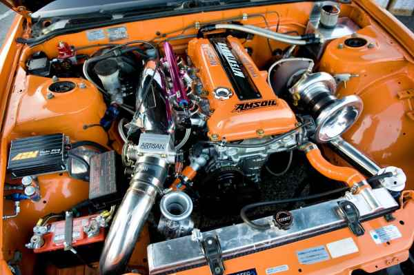 A blast from the past! Check out the engine bay of our old 1989 Nissan 240SX shop car!
