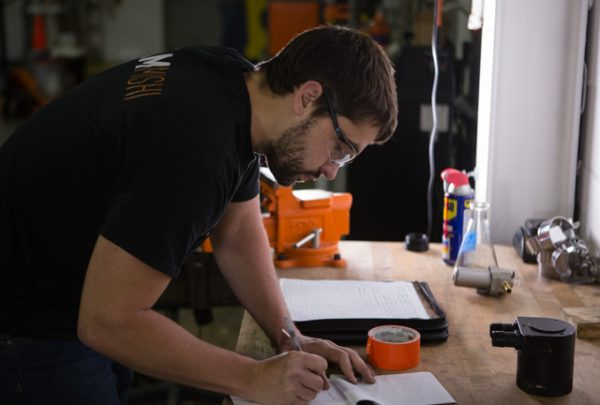Steve working on his plan for bench testing our high-flow catch can prototype.