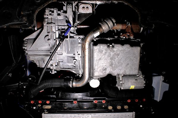 Underbody shot of the stock intercooler piping on a 2013 … <a href=
