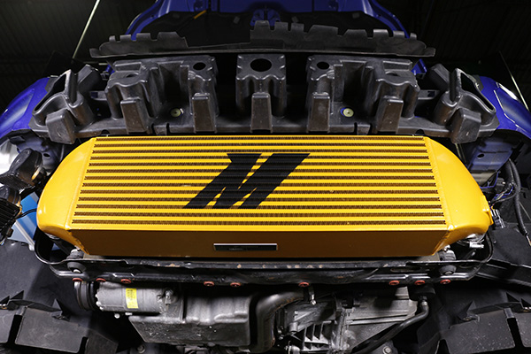 Our gold intercooler installed on our RS