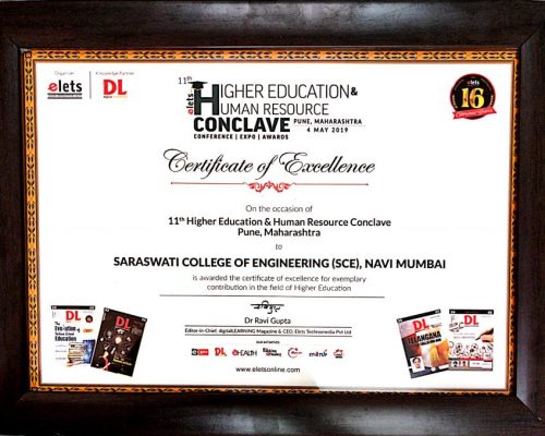 Cetificate of Excellance by 11th Higher education & human Resource conclave Pune
