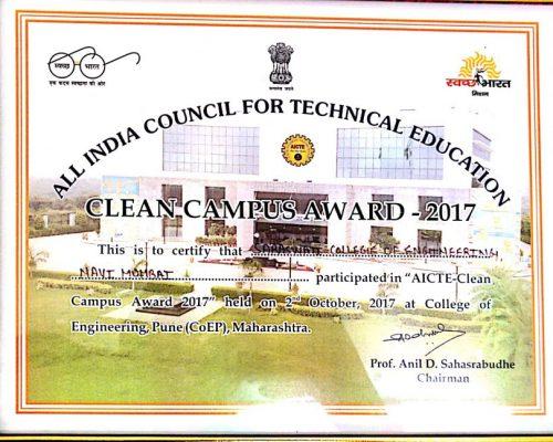 Clean Campus Award-2017 by AICTE-New Delhi