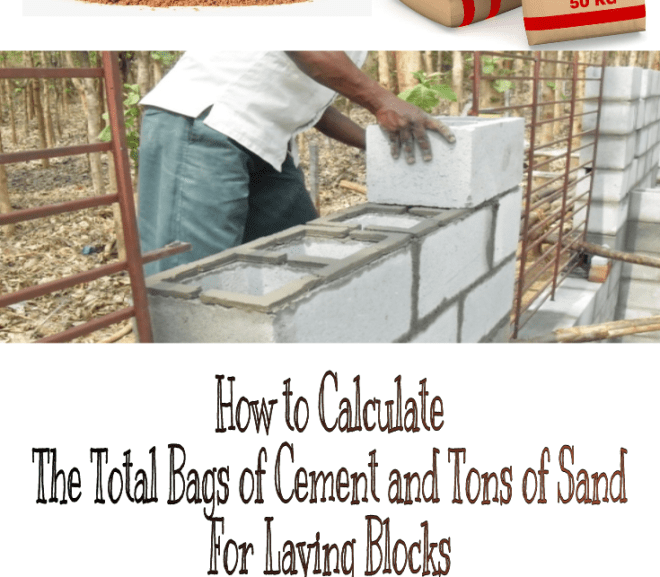 How to Calculate the Total Bags of Cement and Tons of Sand For Laying Blocks