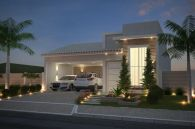 Plano de casa con fachada de ladrillo