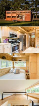 A 344 sq.ft. tiny house with a private first floor bedroom_ two lofts_ and a living room area with couch and entertainment center.