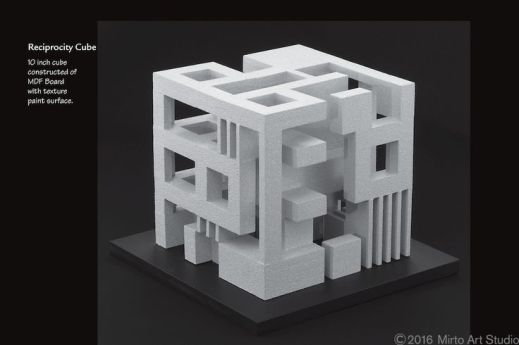 An architectural student design project that demonstrates a balanced reciprocity of solid and void (. The design uses _seed shapes_ that are combined to form a 10 inch square cube. The design sh