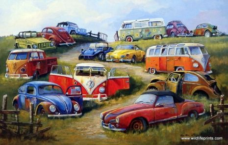 Artist Dale Klee Unframed Old Volkswagen Print Bugs and Things _ WildlifePrints.com