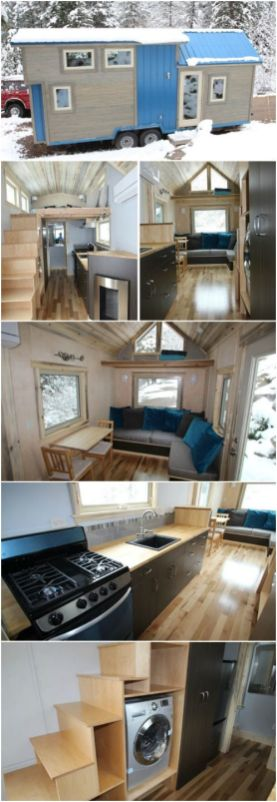 "Colorado Builders Have Found the Perfect Gem with their Blue Sapphire Home _ SimBLISSity Tiny Homes . The ""Blue Sapphire"" is a 204 square foot house built on a 24_foot trailer with a ca"