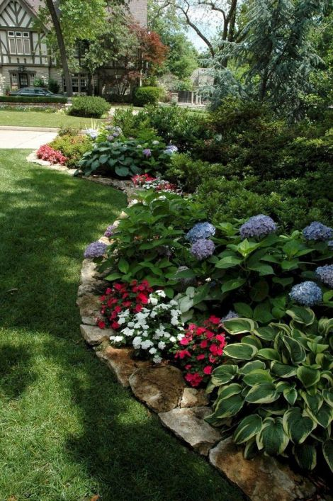 Front yard flower bed edging.