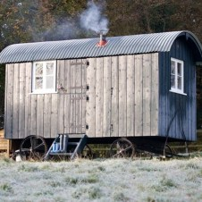 Glamping in a shephards hut neat Tunbridge Wells. Child friendly_ BBQ boxes available_ on a farm with a wood_ In short_ sounds fab_ (_Chez Pulford _ this has got your name all over it m