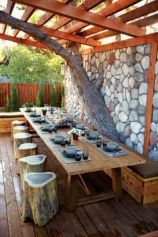 I could see happy faces dining on wood fired pizza and vino at a table setting like this in my back