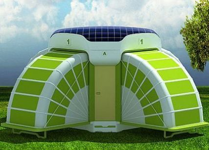 LAGOON solar powered temporary housing module expands to offer comfort and privacy. Designed by Apiqa Design as an alternative to tents_