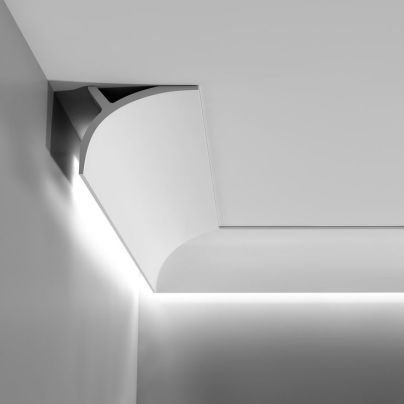 Medium sized_ plain_ downlighting coving _ cornice.  Supplied in 2 metre lengths.  11cm High x 14cm Projection.  Lightweight Purotouch.