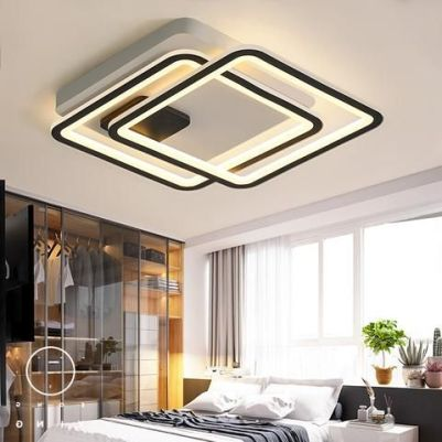 Modern LED Chandelier For Living Study Room Bedroom Square Aluminum Ceiling light