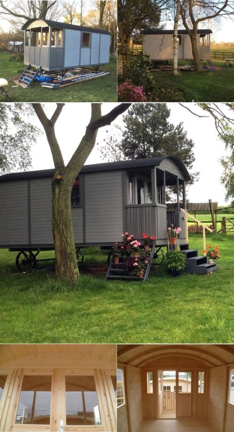 Our Shepherd hut _ Gypsy caravan measuring in total 2.41 x 5.01m. A really large and imposing garden building. It features metal wheels_ axles and H frame. A front porch double gate mou