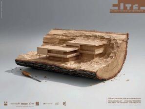 Print Cité de l'Architecture Havas Paris a demandé au collectif de photographes Illusion d'imaginer. Voici trois visuels en images de synthèse en 3D représentant une maison individuelle en bois