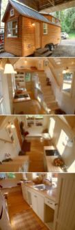This customized 22_ Ynez tiny house features tansu storage stairs with maple treads_ bamboo flooring.