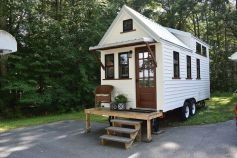 This is a 20_foot farmhouse_style tiny house on wheels. According to the listing_ it's for sale out of Eastford_ Connecticut for _59_000. This THOW was built in 2017 and offers approxim