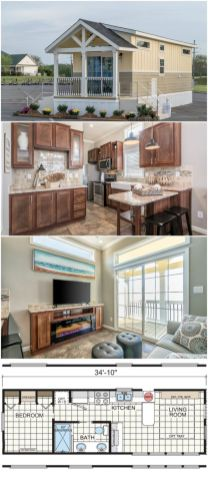 This park model home is a 399_square_foot one bedroom and one bathroom tiny home dream. The kitchen has full_size appliances and a farmhouse sink. The well_appointed living room fea (1)