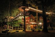 Treehouses at night