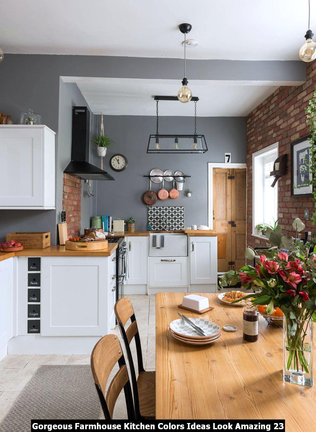 Gorgeous Farmhouse Kitchen Colors Ideas Look Amazing ...