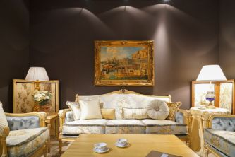 Decorating-the-living-room-with-blue-shade-rococo-furniture-and-framed-gold-baroque-art