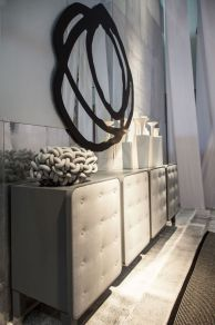 Sideboard-for-hallway-or-dining-area-with-gray-doors
