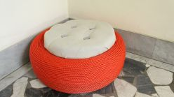Turn-A-Discarded-Tire-Into-A-Cute-Outdoor-Storage-Stool
