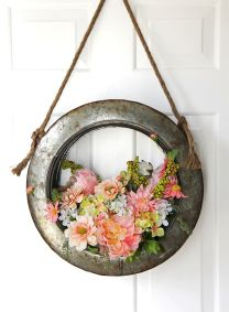 Turn-an-old-tire-into-a-hanging-wreath-for-Spring