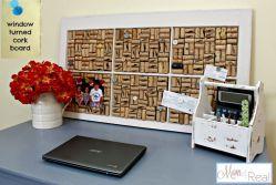Wine-cork-and-old-window-frame-Pin-Board