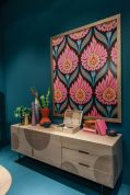floral-leaf-patterns-framed-above-the-sideboard