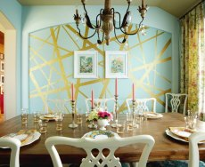 gold-leafed-wall-paint-dining-room