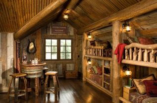 mountain-room-with-bunk-beds-and-half-barrel-table