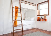 white-bunk-beds-with-orange-curtain-and-ladder