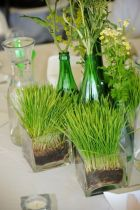 a-fresh-spring-centerpiece-with-wheatgrass-in-sheer-square-vases-bottles-with-wildflowers-is-living-and-cool