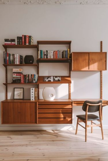 a-rich-stained-modern-wall-storage-unit-with-open-shelves-and-drawers-and-cabinets-plus-a-small-desk
