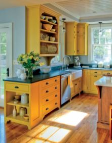 a-sunny-yellow-kitchen-with-black-coutnertops-a-wooden-kitchen-island-looks-very-inspiring-bold-and-cool