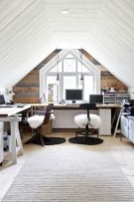 a-welcoming-attic-farmhouse-home-office-with-a-large-shared-desk-a-reclaimed-wooden-wall-catchy-chairs-white-fur-and-a-simple-rug