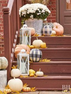 neutral-and-plaid-pumpkins-bright-leaves-candle-lanterns-and-white-blooms-in-a-pot-for-decorating-outdoors