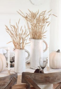 white-porcelain-jugs-with-wheat-and-white-pumpkins-for-a-pretty-rustic-tablescape-a-fall-or-a-Thanksgving-one