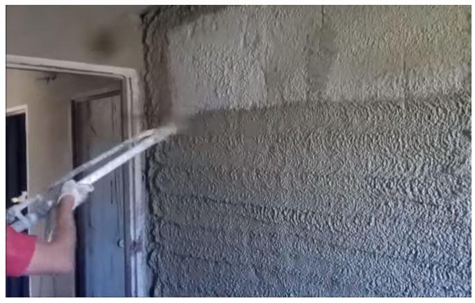 Cement mortar used for Plastering (Source YouTube-Piotr Kaminski)