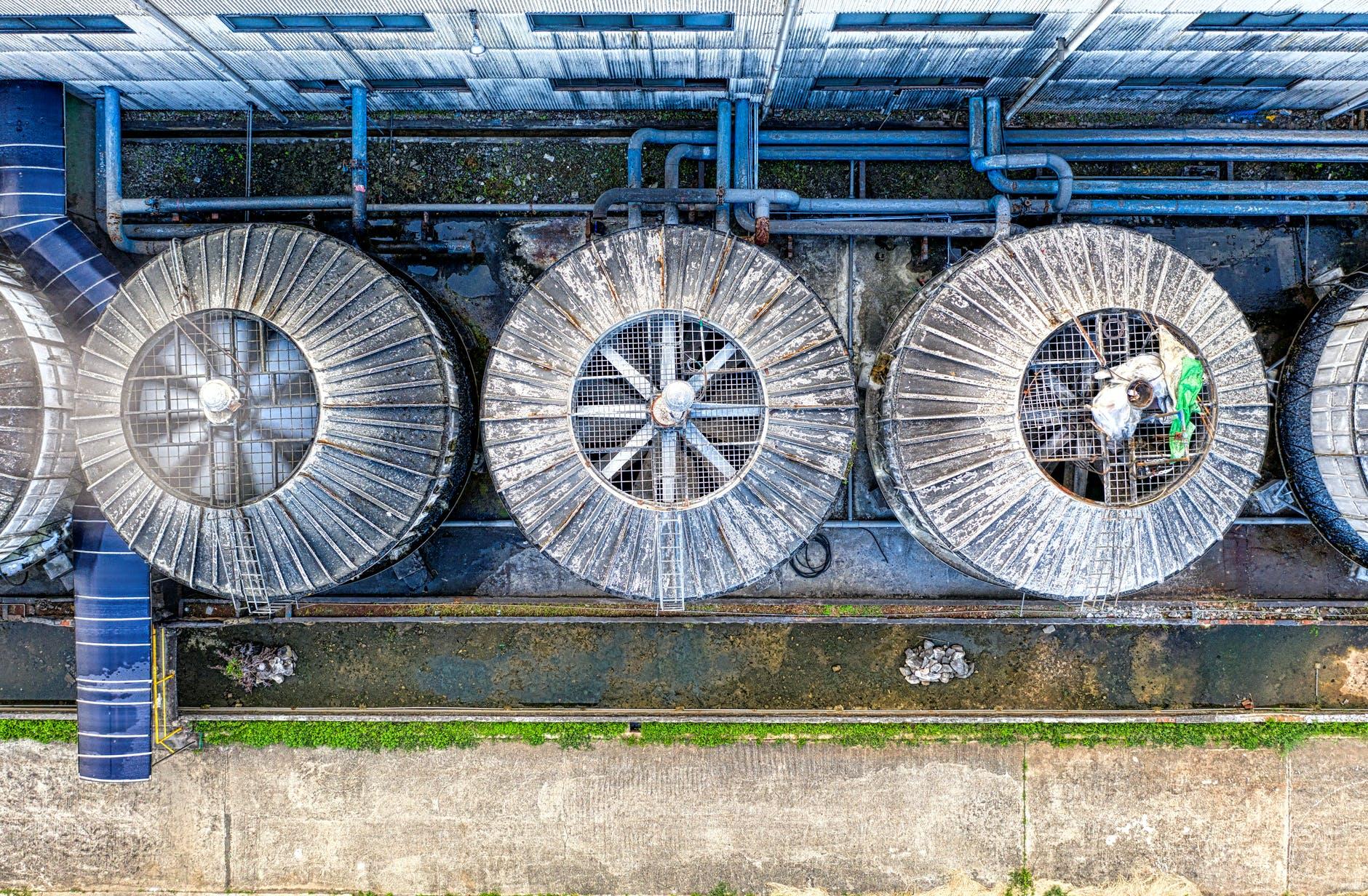metal ventilation system on factory