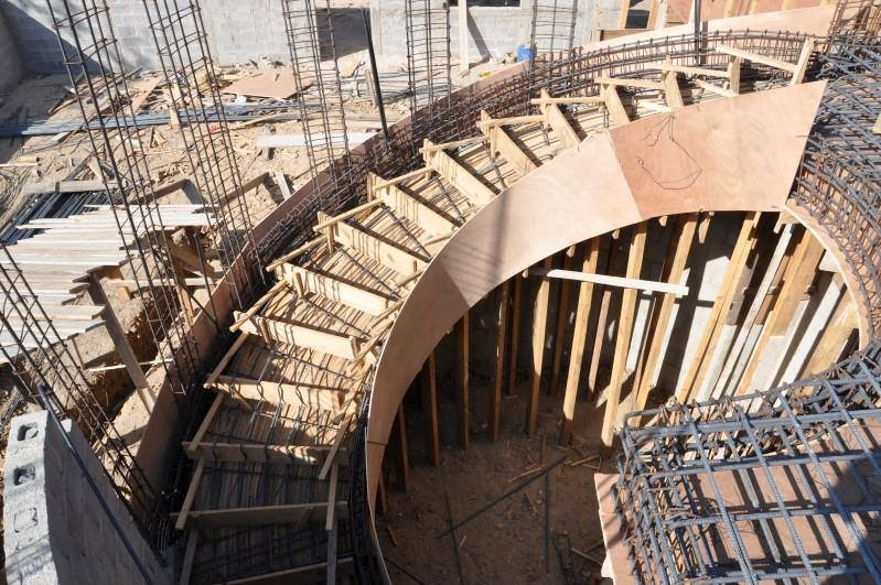 Various Type Of Formwork For Curved Concrete Stairs Engineering Feed   Building A Curved Staircase   Indoor   36 Inch Diameter   Garage   Circular   Outside