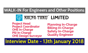 KALPATARU LIMITED WALK-IN For Engineers and Other Positions Interview Date - 13th January 2018