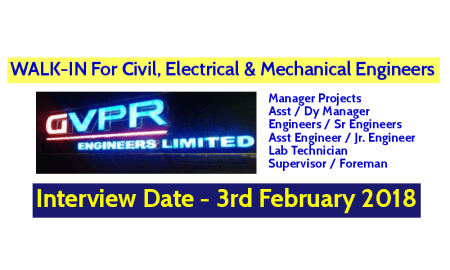GVPR Engineers Ltd WALK-IN For Civil, Electrical, And Mechanical Engineers